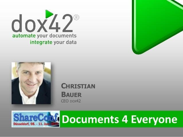 CHRISTIAN BAUER CEO DOX42
