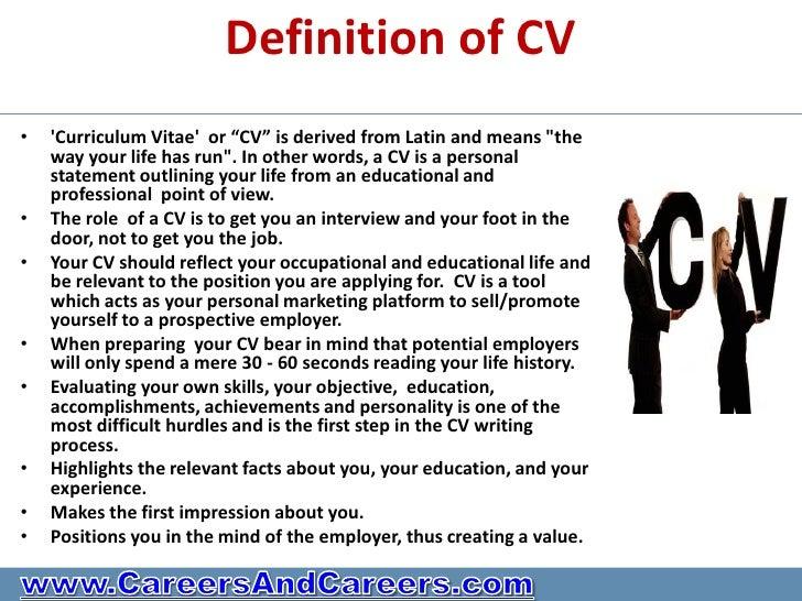 define curriculum vitae resume