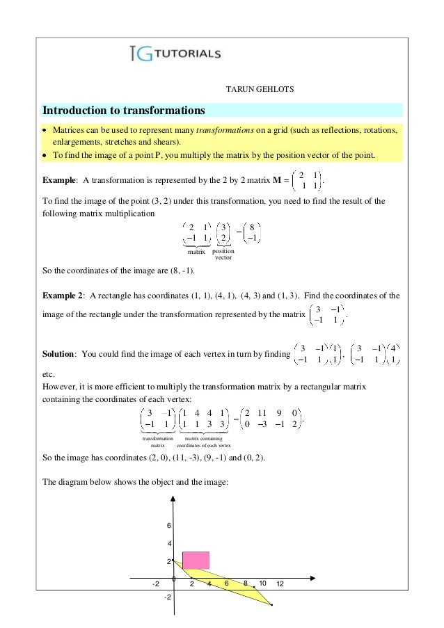 TARUN GEHLOTSIntroduction to transformations   Matrices can be used to represent many transformations on a grid (such as r...