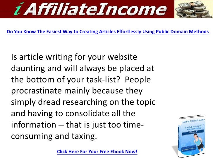 Do You Know The Easiest Way to Creating Articles Effortlessly Using Public Domain Methods      Is article writing for your...
