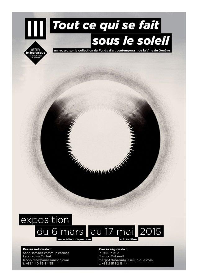 www.lelieuunique.com saison 2014/2015 le lieu unique scène nationale de Nantes entrée libre Tout ce qui se fait du 6 mars ...