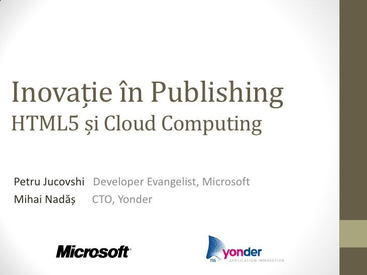 Innovation in Publishing - HTML5 and Cloud Computing