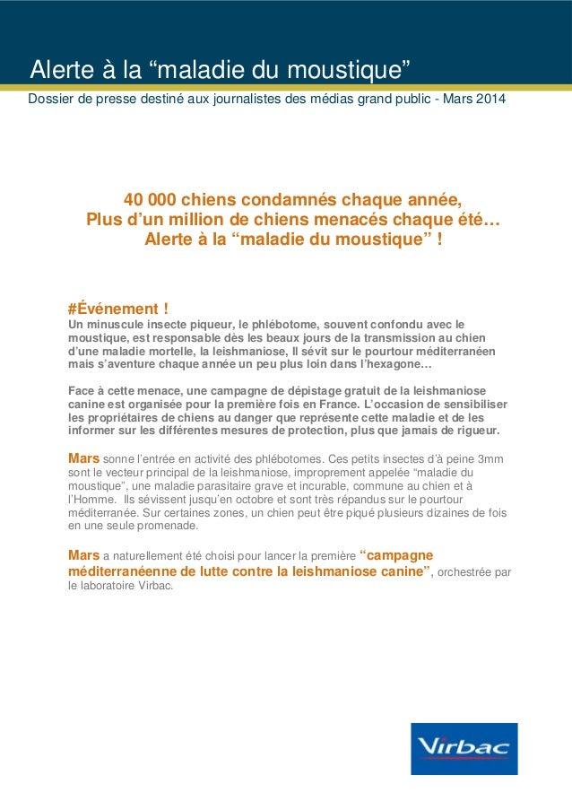 """Alerte à la """"maladie du moustique"""" Dossier de presse destiné aux journalistes des médias grand public - Mars 2014  40 000 ..."""