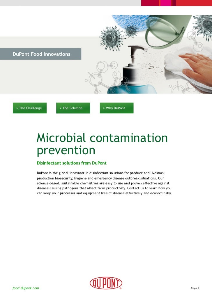 DuPont Food Innovations  > The Challenge           > The Solution             > Why DuPont             Microbial contamina...