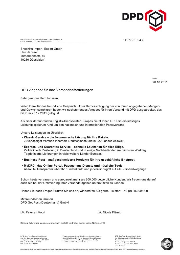 DPD GeoPost (Deutschland) GmbH · Am Röhrenwerk 947259 Duisburg · Info: +49 (0) 203 9988-0                                 ...