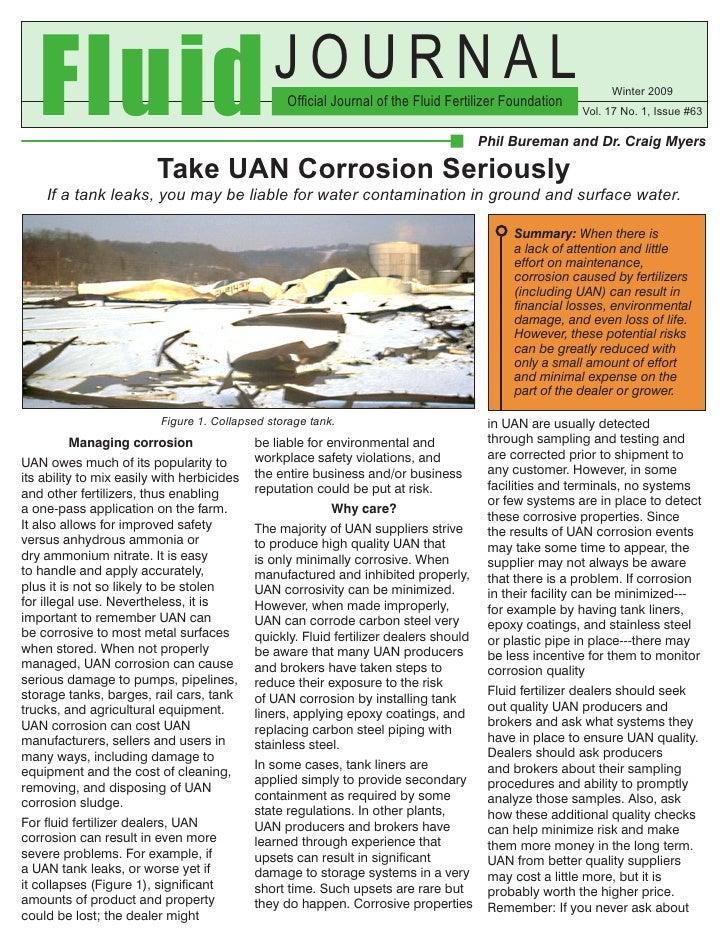 D:\Pebureman\My Documents\Uan\Fluid Journal\Fluid Journal Article On Uan Corrosion Management  Winter 2009 (W09 A1)