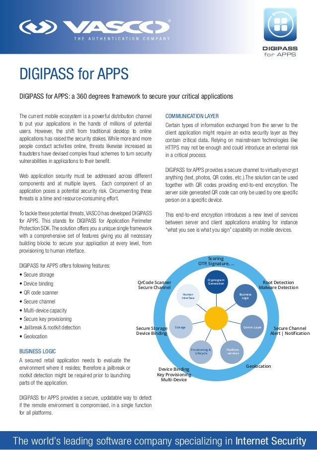 DIGIPASS for APPS  DIGIPASS for APPS DIGIPASS for APPS: a 360 degrees framework to secure your critical applications The c...