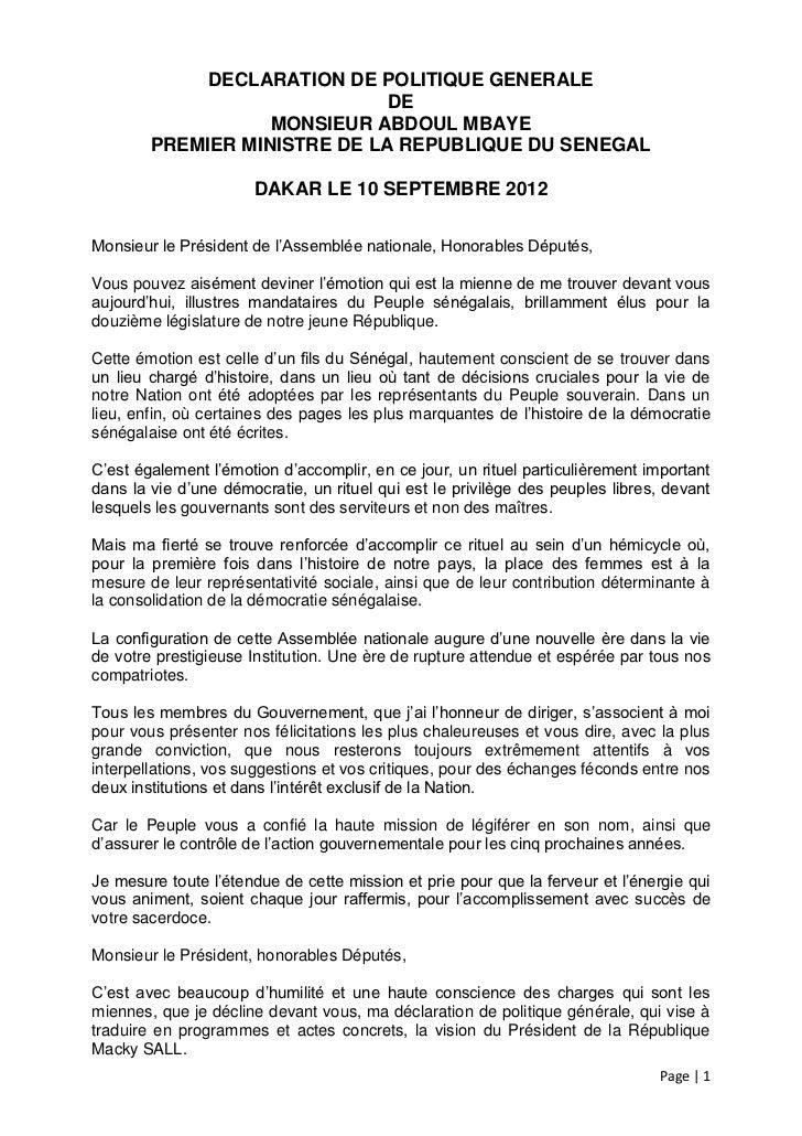 DECLARATION DE POLITIQUE GENERALE                              DE                   MONSIEUR ABDOUL MBAYE        PREMIER M...