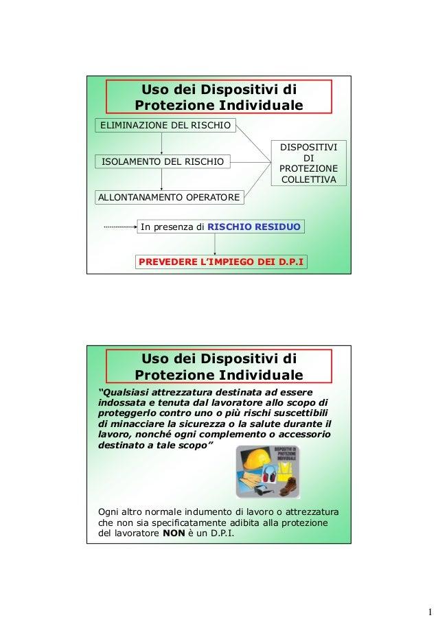 Uso dei Dispositivi di Protezione Individuale ELIMINAZIONE DEL RISCHIO  ISOLAMENTO DEL RISCHIO  DISPOSITIVI DI PROTEZIONE ...