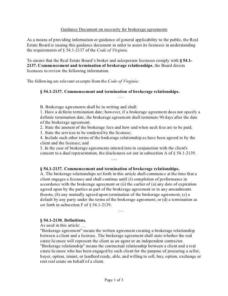 DPOR Guiding Document on Necessity For Broker Agreement