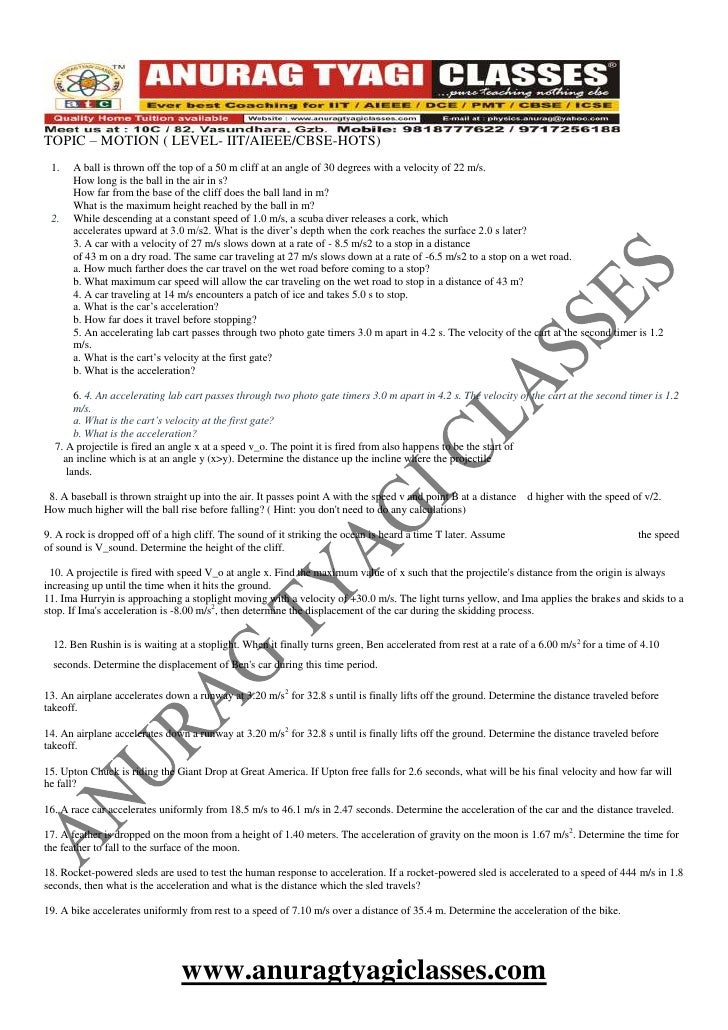 DPP (DAILY PRACTICE PROBLEMS ) MOTION ,PHYSICS BY ATC