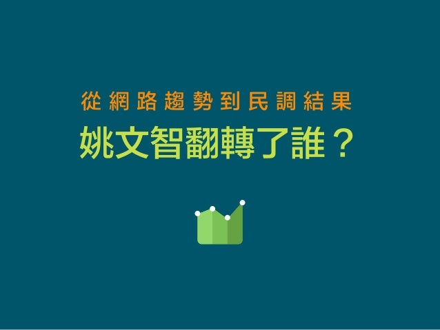從 網 路 趨 勢 到 民 調 結 果 姚文智翻轉了誰? Icon designed by Studio4 http://www.studio4.lt