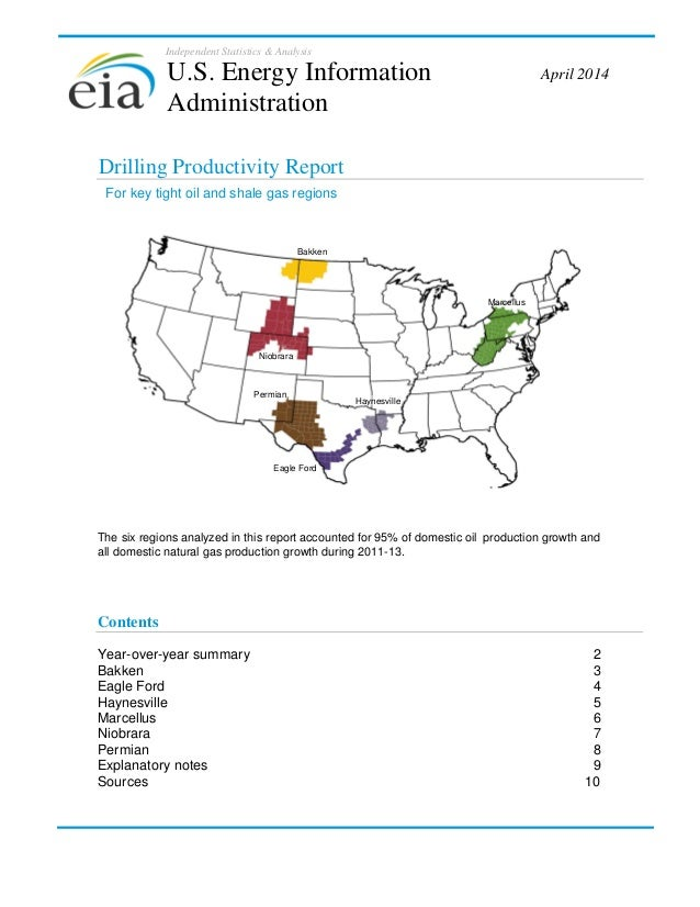 Independent Statistics & Analysis Drilling Productivity Report The six regions analyzed in this report accounted for 95% o...