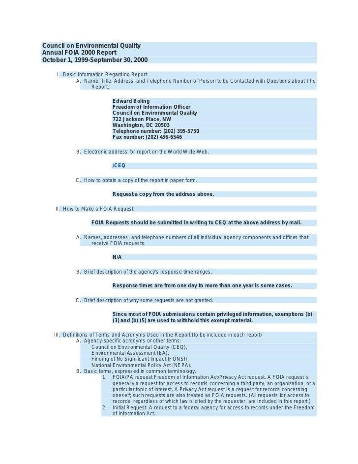 Council on Environmental Quality Annual FOIA 2000 Report October 1, 1999-September 30, 2000      I. Basic Information Rega...