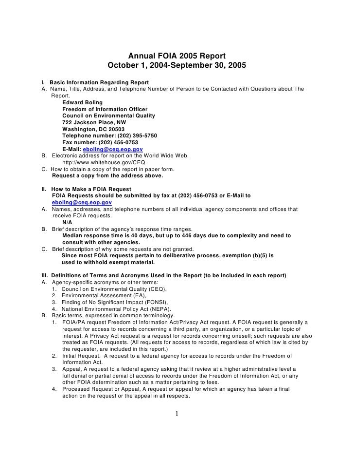 CEQ Annual FOIA 2005 Report