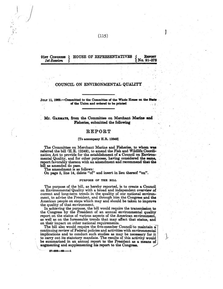 Congressional White Paper on a National Policy for the Environment