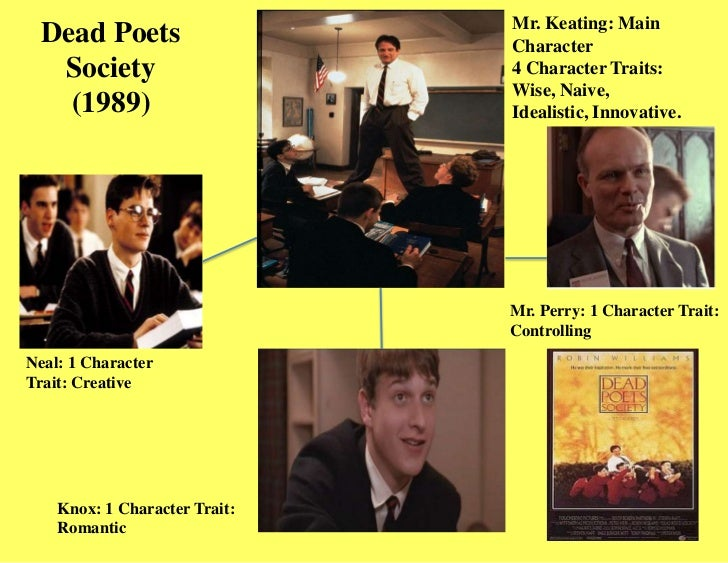 "perspectives ""dead poets society"" Dead poets society is a terrible defense of the humanities atlantic 1 (1), 1-5 researcher analyzed other aspects of neil's suicide which involves anomic and egoistic suicide (durkheim typology)."