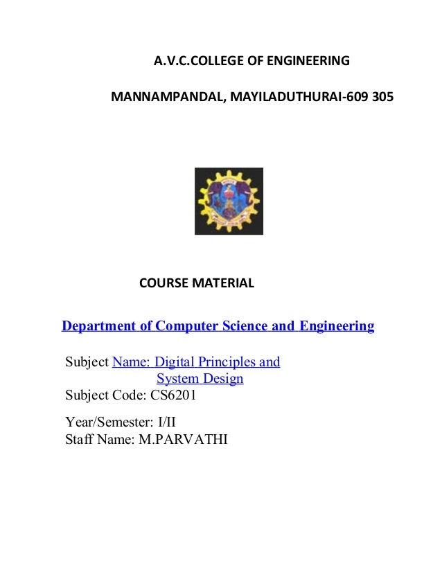 A.V.C.COLLEGE OF ENGINEERING MANNAMPANDAL, MAYILADUTHURAI-609 305 COURSE MATERIAL Department of Computer Science and Engin...