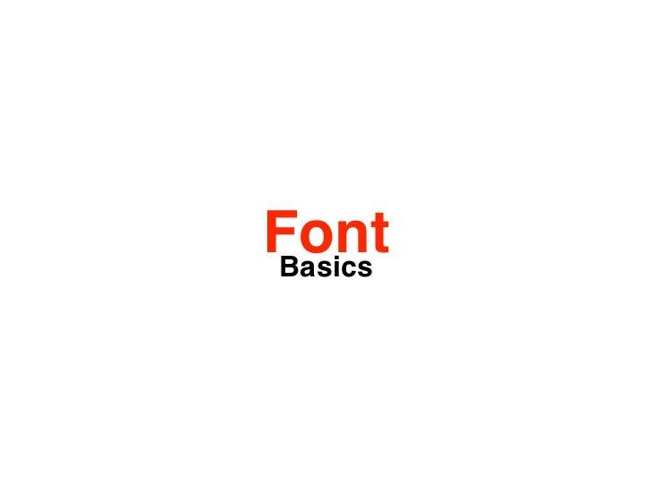 Font Basics - a small introduction