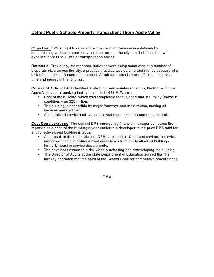 Detroit Public Schools Property Transaction: Thorn Apple Valley   Objective: DPS sought to drive efficiencies and improve ...