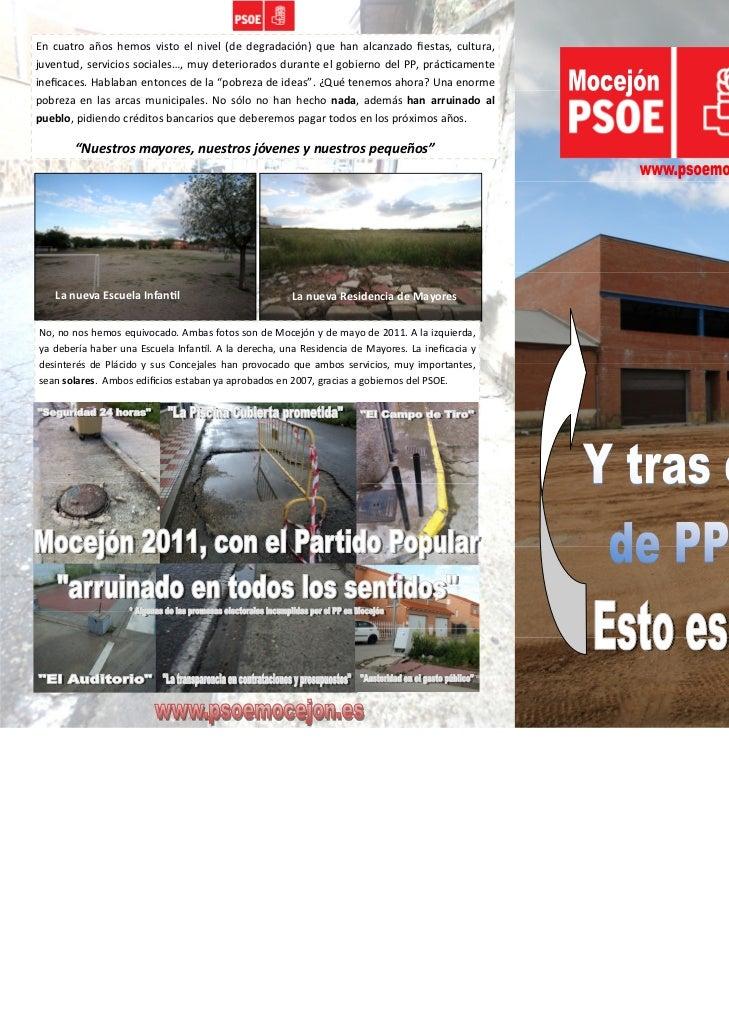 Y tras cuatro años de gobierno del PP en Mocejón...