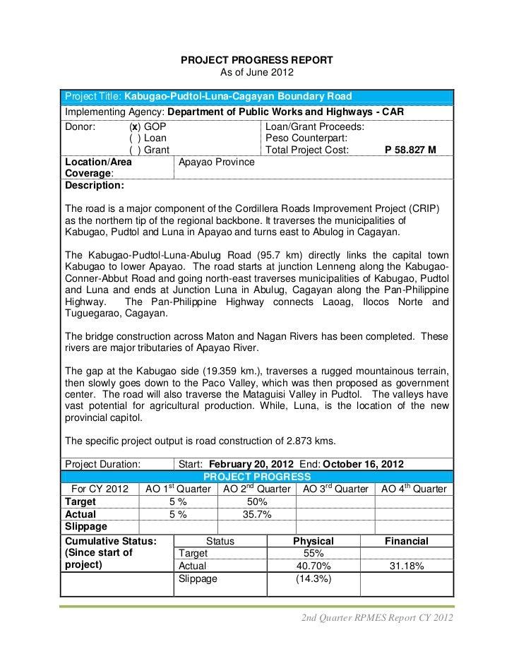 PROJECT PROGRESS REPORT                                As of June 2012Project Title: Kabugao-Pudtol-Luna-Cagayan Boundary ...