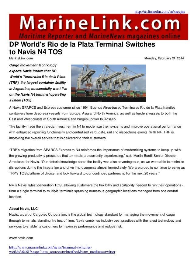 dp world s rio de la plata terminal switches to navis n4 tos  navis sparcs n4 manual