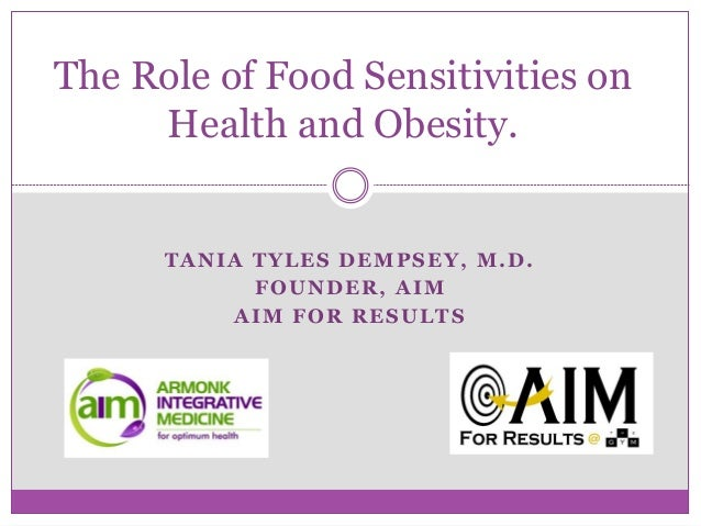 TANIA TYLES DEMPSEY, M.D. FOUNDER, AIM AIM FOR RESULTS The Role of Food Sensitivities on Health and Obesity.