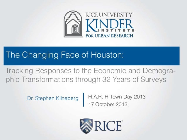 The Changing Face of Houston: Tracking Responses to the Economic and Demographic Transformations through 32 Years of Surve...