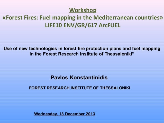 Workshop «Forest Fires: Fuel mapping in the Mediterranean countries» LIFE10 ENV/GR/617 ArcFUEL  Use of new technologies in...