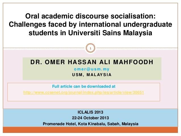 Oral Academic Discourse Socialisation