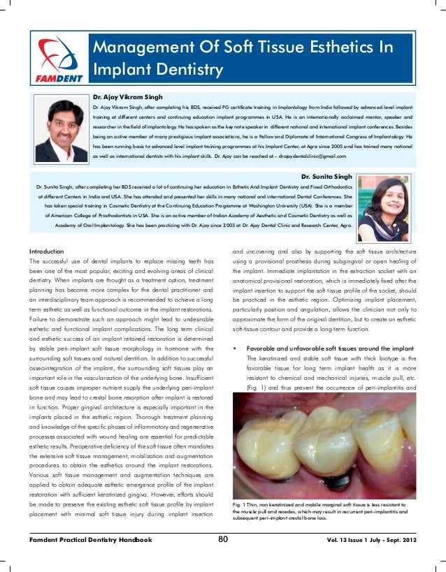 80Famdent Practical Dentistry Handbook Vol. 13 Issue 1 July - Sept. 2012 Management Of Soft Tissue Esthetics In Implant De...