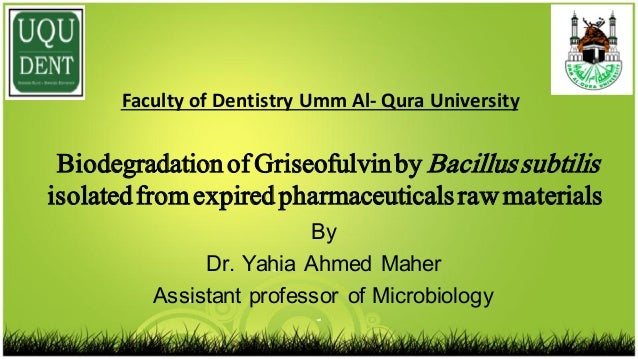 By Dr. Yahia Ahmed Maher Assistant professor of Microbiology Biodegradationof Griseofulvinby Bacillussubtilis isolatedfrom...