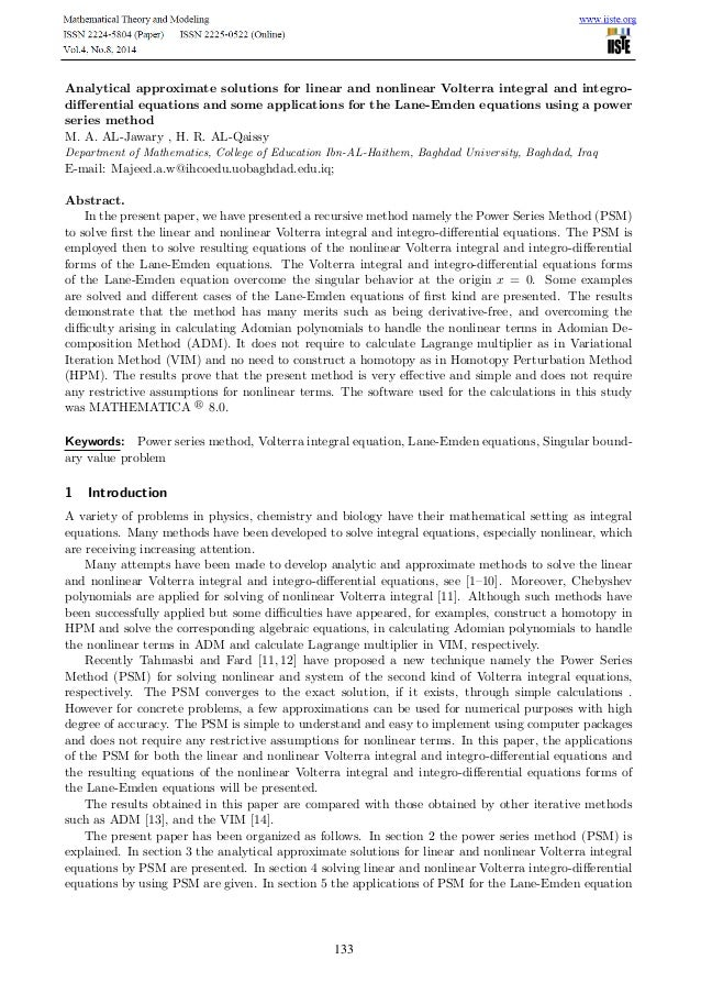 1 Introduction 1 Analytical approximate solutions for linear and nonlinear Volterra integral and integro- differential equa...