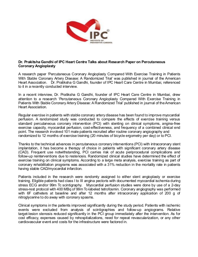 Dr Prakitsha Gandhi of IPC Heart Centre Talks about Research