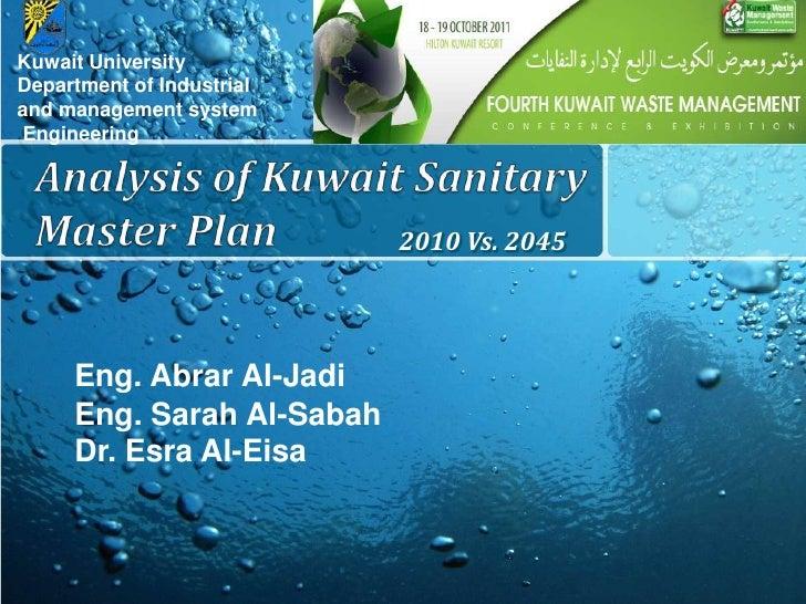 Dr. Abrar Al Jadi & Ms. Sara Al Sabah - Analysis of Kuwait Sanitary Master Plan