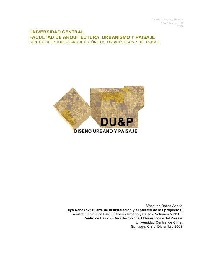 Diseño Urbano y Paisaje                                                                            Año 5 Número 15        ...