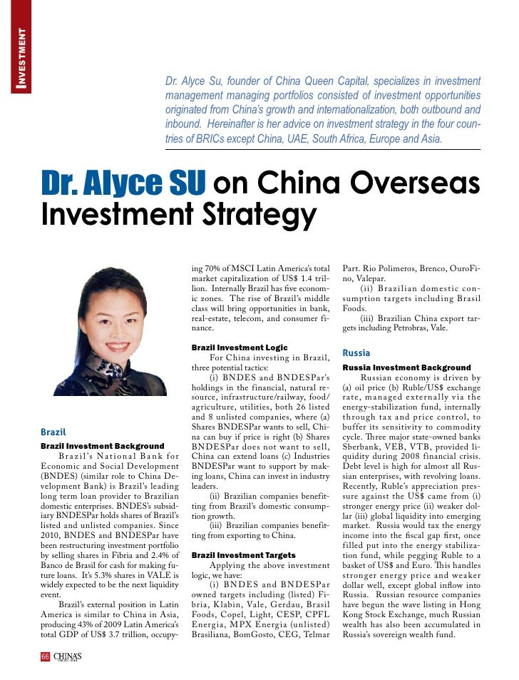 Investment                                                          Dr. Alyce Su, founder of China Queen Capital, speciali...