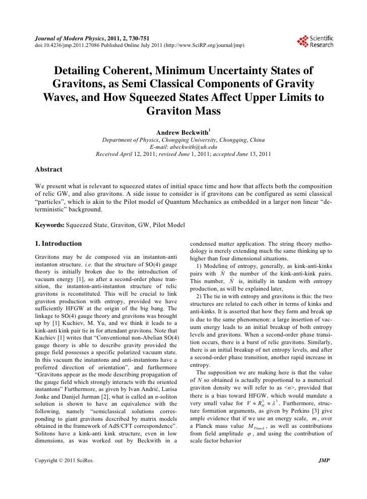 Journal of Modern Physics, 2011, 2, 730-751doi:10.4236/jmp.2011.27086 Published Online July 2011 (http://www.SciRP.org/jou...