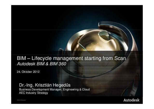 BIM – Lifecycle management starting from ScanAutodesk BIM & BIM 36024. Oktober 2012   Dr.-Ing. Krisztián Hegedűs   Busines...