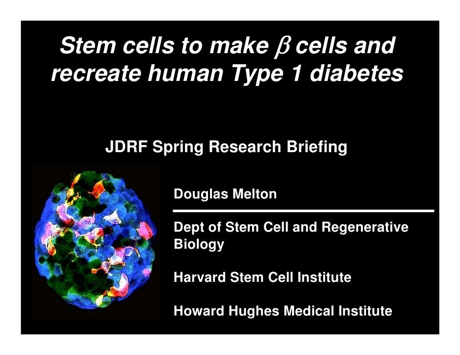 Stem cells to make β cells and recreate human Type 1 diabetes       JDRF Spring Research Briefing              Douglas Mel...