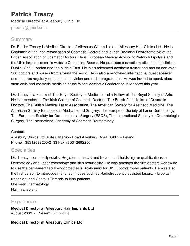Patrick Treacy Medical Director at Ailesbury Clinic Ltd ptreacy@gmail.com  Summary Dr. Patrick Treacy is Medical Director ...