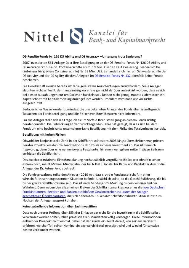 DS-Rendite-Fonds Nr. 126 DS Ability und DS Accuracy – Untergang trotz Sanierung?2007 investierten 561 Anleger über ihre Be...