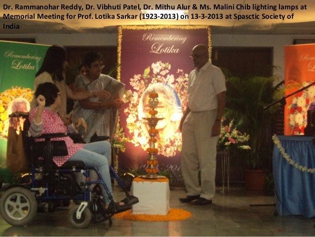 Dr. Rammanohar Reddy, Dr. Vibhuti Patel, Dr. Mithu Alur & Ms. Malini Chib lighting lamps at memorial meeting for prof. lotika sarkar 13 3-2013
