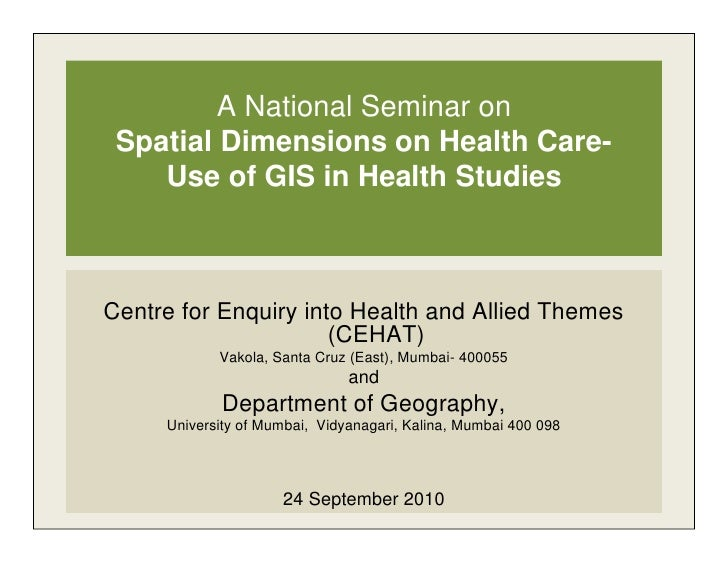About Geography of Health: Reflections on Concepts & Relevant Techniques by Dr. Smita Gandhi