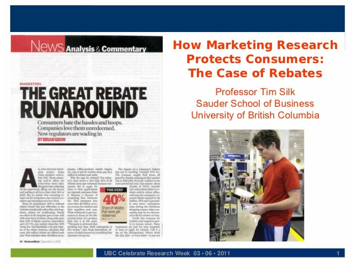 How Marketing Research                       Protects Consumers:                        The Case of Rebates               ...