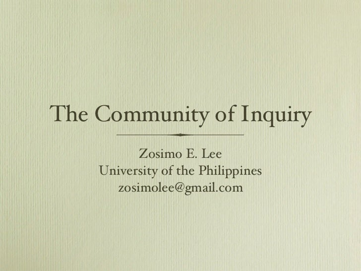 Community of Inquiry, Dr. Zosimo Lee