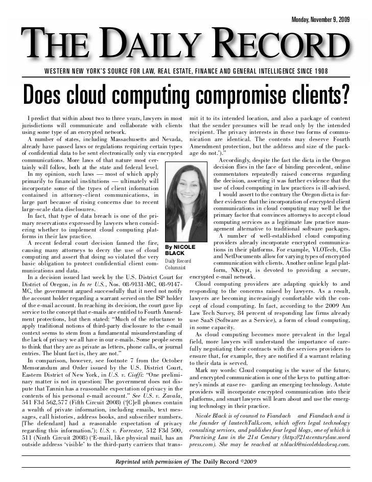 Does Cloud Computing Compromise Clients?