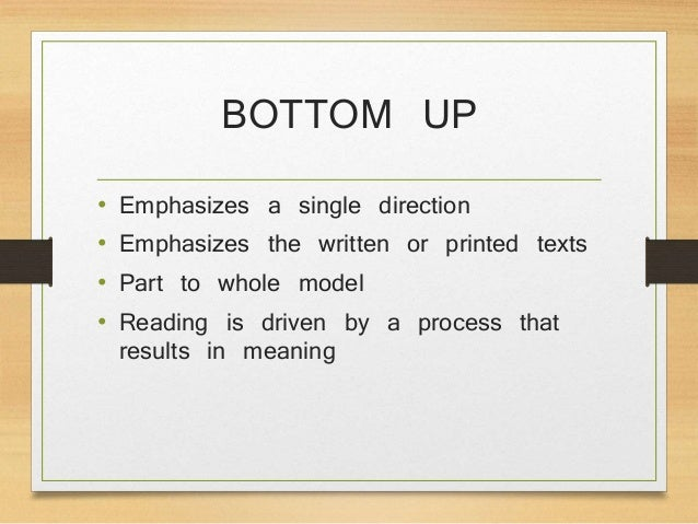 the bottom up theory of reading