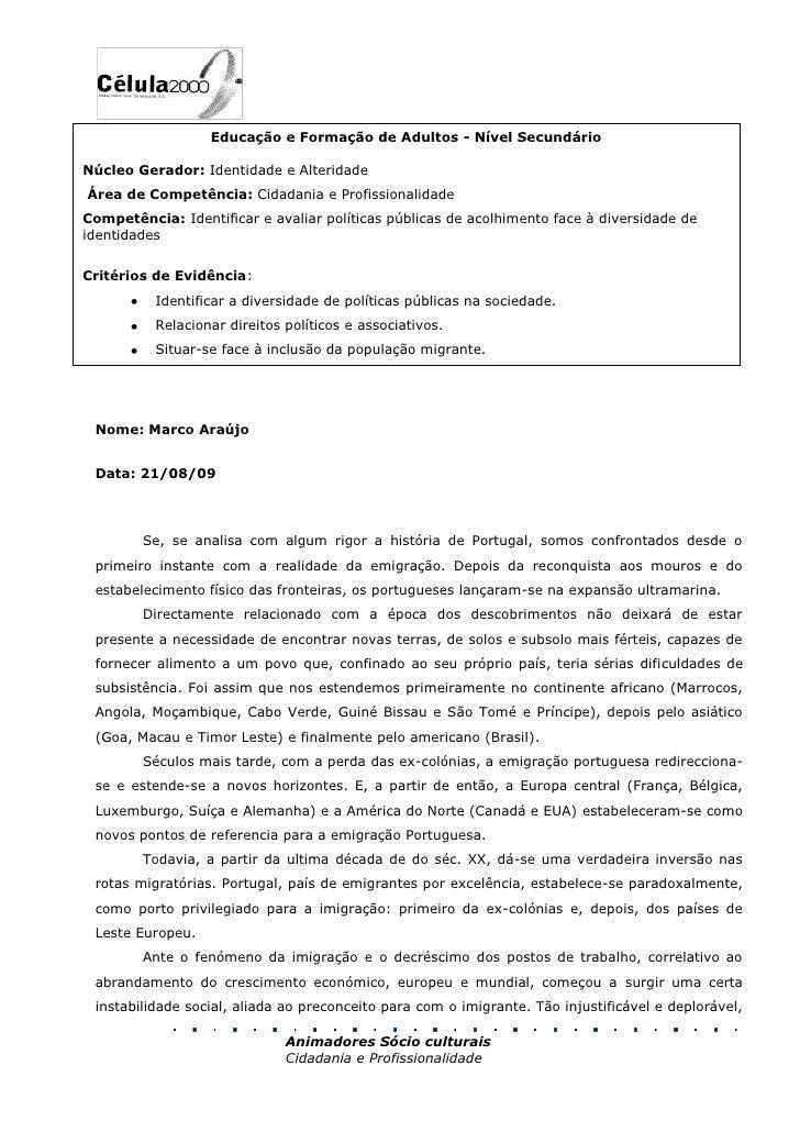 Educação e Formação de Adultos - Nível SecundárioNúcleo Gerador: Identidade e AlteridadeÁrea de Competência: Cidadania e...